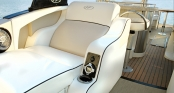 Rear Facing Lounger in Beige Cashmere with Aft Entertainment Center